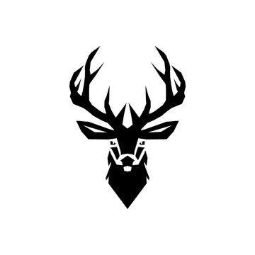 Design deer head isolated white background. Deer head sign logo