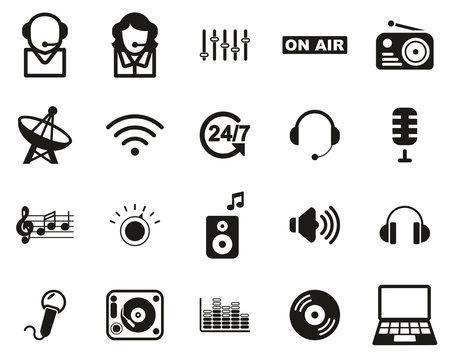 Radio Station & Radio Equipment Icons Black & White Set Big