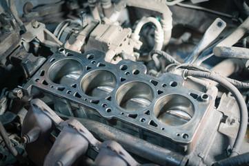 Engine block in a car. Disassembled car for repair. Fotomurales