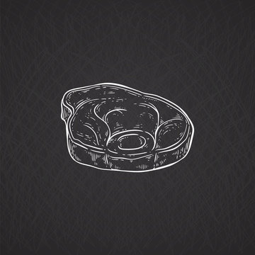 Pork or beef meat piece icon chalk drawn cartoon vector illustration isolated.