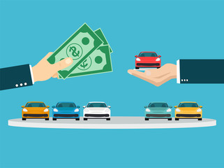 Vector of a businessman hand exchanging a new car for money