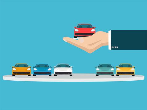 Vector of a hand holding a new car