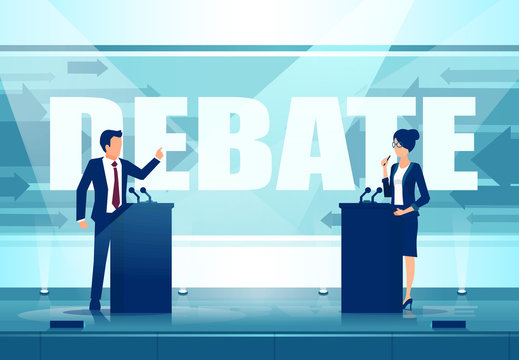 Vector of a two political leaders having an open debate