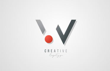 letter W logo alphabet icon design template elements in grey and red for business