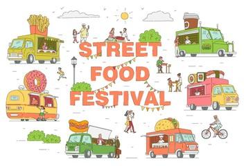 Street food festival trucks set vector sketch cartoon illustration isolated.