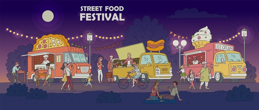 Street food festival night scene with trucks and people vector illustration.