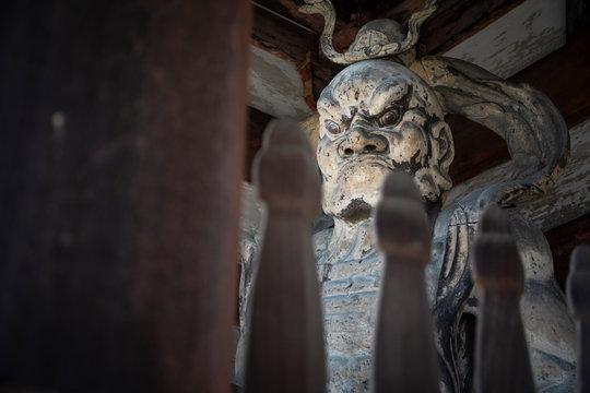 Weathered statue of Kongorikishi guardian