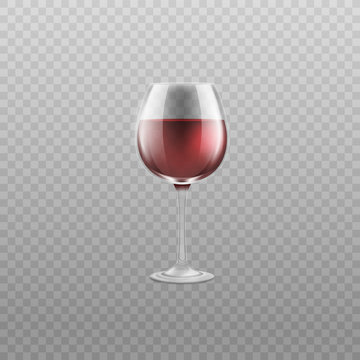 Realistic glass of red wine isolated on transparent background