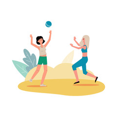 Two cartoon women playing volleyball isolated on white background.