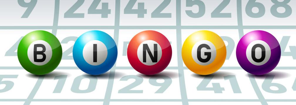 Bingo or Lottery Balls on Bingo Cards