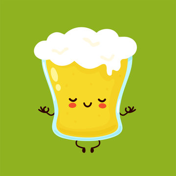 Cute happy smiling glass of beer meditate