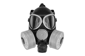 modern gas mask on a white background