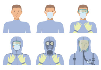 Personal protective equipment against biochemical threats. Different levels of protection.
