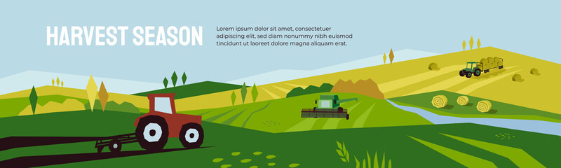Harvest season and agriculture concept. Farm landscape, panoramic scenery of countryside in autumn. Vector illustration of tractors, plowing land, combine harvester and hayfield with haystack rolls. Fototapete