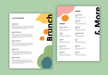 Cafe Menu Layout with Abstract Food Illustrations