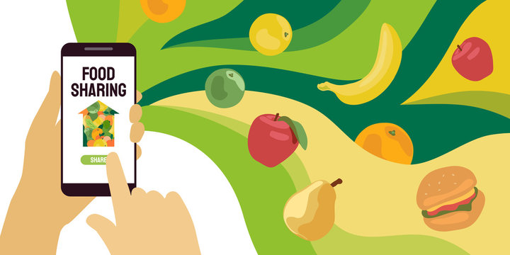Food sharing project. Vector illustration of share meal, waste reduction, help for the poor, refugees. Design for charity, volunteer organization. Hand with smartphone. Mobile app for restaurant, cafe