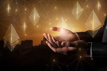 Businessman hands supports ethereum .
