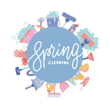 Cleaning service banner template - flat cartoon house cleaning tools and supplies arranged in a circle around ad lettering text.Broom, bottles, bucket, mop, vacuum. Flat hand drawn vector illustration