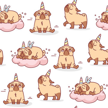 seamless vector pattern withcute cartoon pug dog with unicorn and wings horn sleeping on a cloud