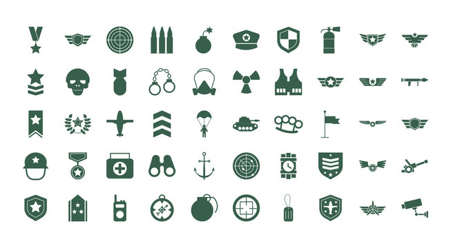 bundle of military set icons