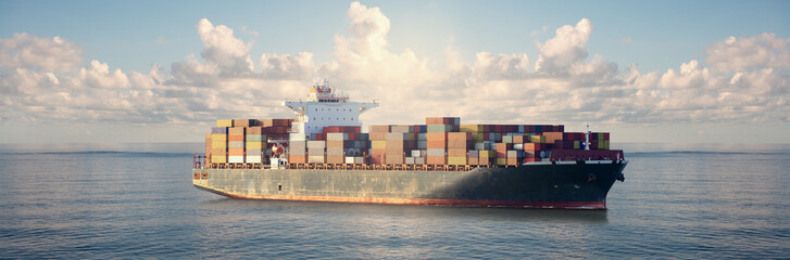Mighty container ships in ocean at sunrise underway performing import and export marine cargo transportation.