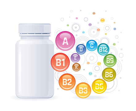 Multi vitamin complex supplement. 3d mockup with empty bottle vitamins a, b1, b2, b3, b5, b6, b9, b12, c, d, e, k. Trendy health realistic multivitamin complex poster. Isolated on white background.
