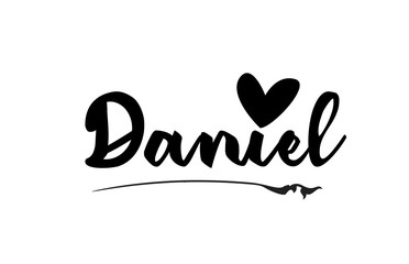 Daniel name text word with love heart hand written for logo typography design template Fotomurales