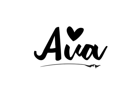 Ava name text word with love heart hand written for logo typography design template
