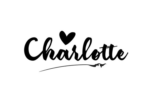 Charlotte name text word with love heart hand written for logo typography design template