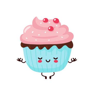 Cute happy smiling cupcake meditate in yoga pose