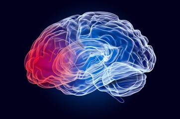 Brain disease concept. Ghost light effect, x-ray hologram. 3D rendering