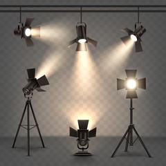 In de dag Licht, schaduw Spotlights realistic illustration with warm light