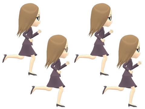 [Run] Caucasian Woman casual straight side angle