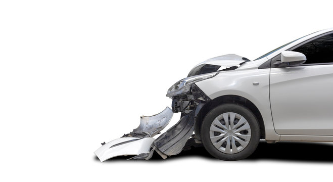 Front of white color car big damaged and broken by accident. Save with clipping path.