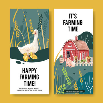 Farmer flyer design with duck, warehouse, pig watercolor illustration.