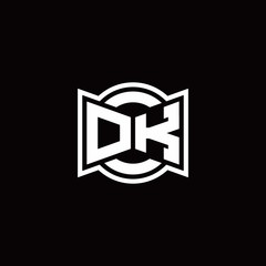 DK logo monogram with ribbon style circle rounded design template