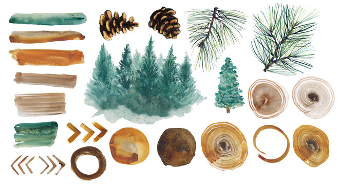 .Watercolor set with spruce forest, pine branch, treehouse, fir cones, watercolor stains and chevron on white background