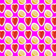 seamless food pattern with fresh slice lemon and strawberries on pink background