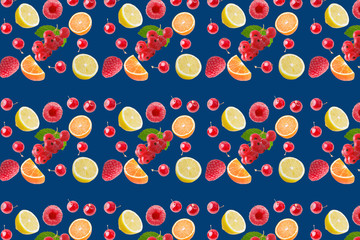 seamless food pattern with fresh fruits on classic blue background