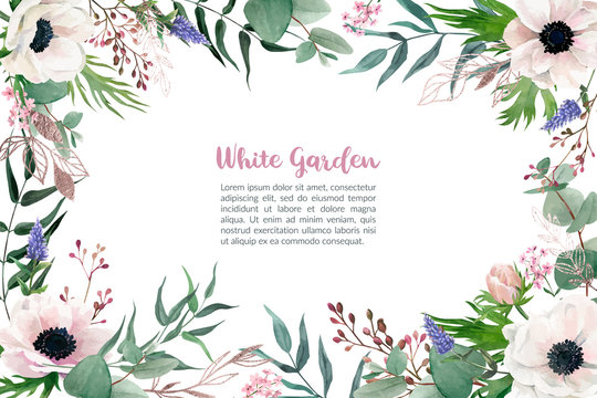 Watercolor blush pink anemones, frame, hand drawn vector