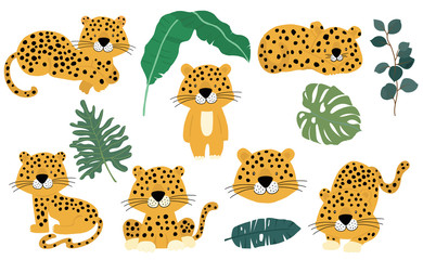 Cute animal object collection with leopard,tiger. illustration for icon,logo,sticker,printable Wall mural
