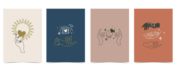 Collection of occult background set with hand,planet,heart,moon.Editable vector illustration for website, invitation,postcard and sticker