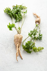 Fresh roots with greens on white surface