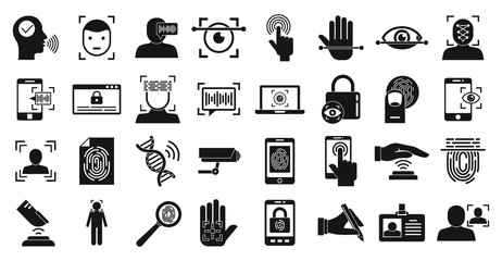 Biometric authentication icons set. Simple set of biometric authentication vector icons for web design on white background