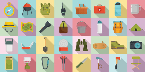 Hiking icons set. Flat set of hiking vector icons for web design