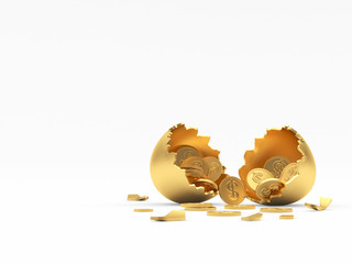 Golden broken egg shell full of coins with space for text isolated on a white background. 3D illustration