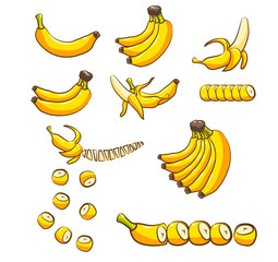 banana vector set collection graphic clipart design