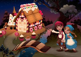 Papiers peints Chambre d enfant Hansel and Gretel near the candy house