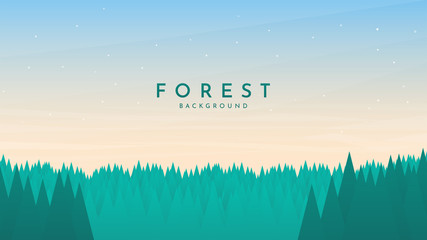 Fototapete - Vector illustration. Minimalist forest background. Geometric wallpaper. Clear sky with polygonal clouds. Pine trees. Green woods. Cartoon backdrop. Poster, banner, website, game template. Panorama