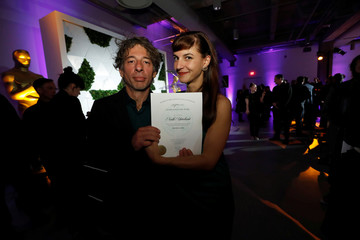 Directors Kotevska and Stefanov hold their certificate of nomination at the Academy's party for the Best International Feature Film nominees at the Academy Museum of Motion Pictures in Los Angeles